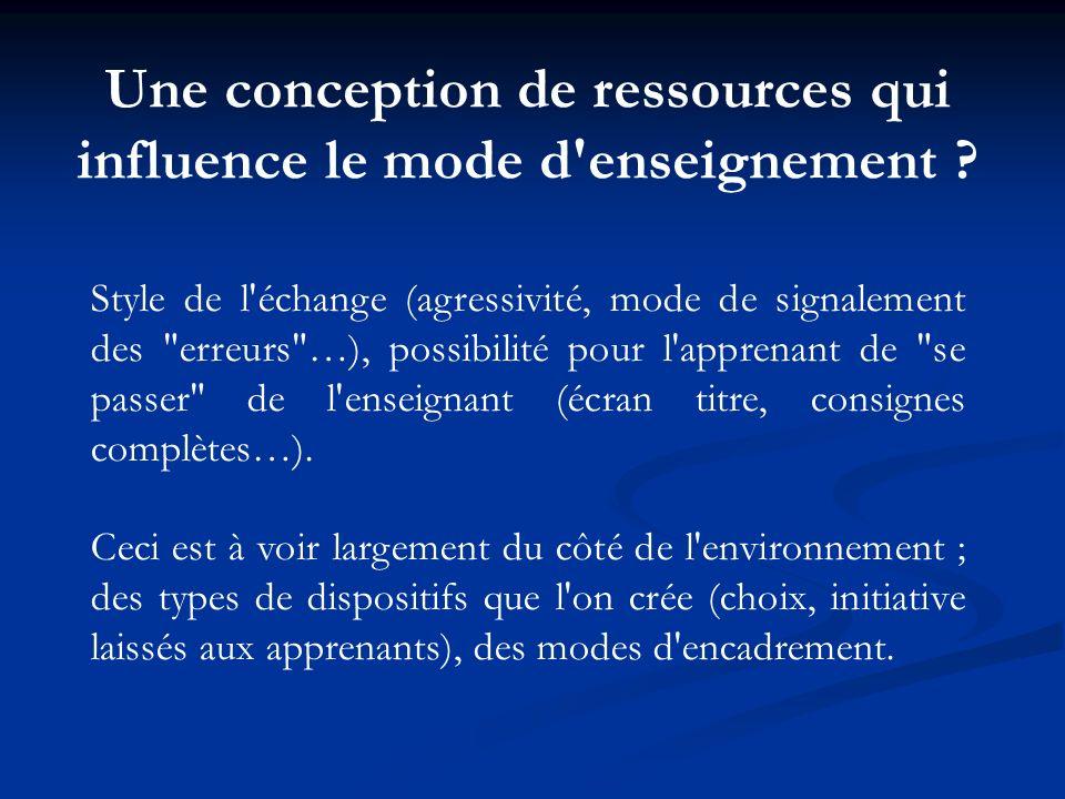 Une conception de ressources qui influence le mode d'enseignement ? Style de l'échange (agressivité, mode de signalement des