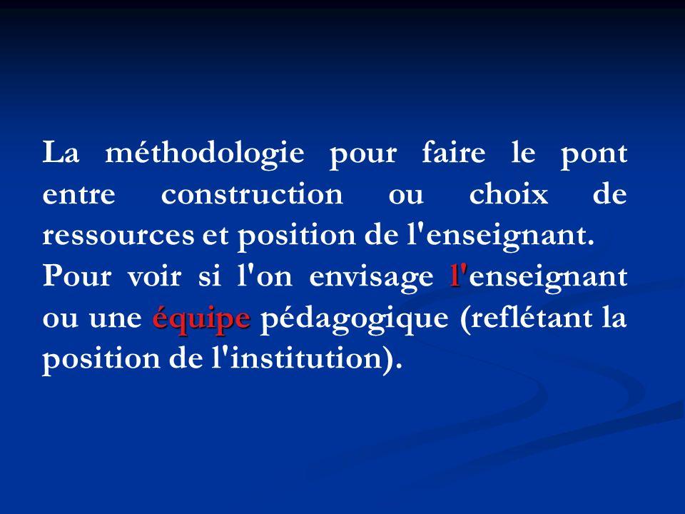 La méthodologie pour faire le pont entre construction ou choix de ressources et position de l'enseignant. l' équipe Pour voir si l'on envisage l'ensei