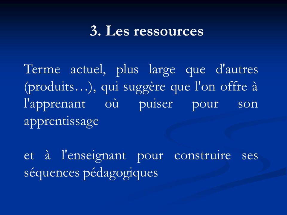 3. Les ressources Terme actuel, plus large que d'autres (produits…), qui suggère que l'on offre à l'apprenant où puiser pour son apprentissage et à l'