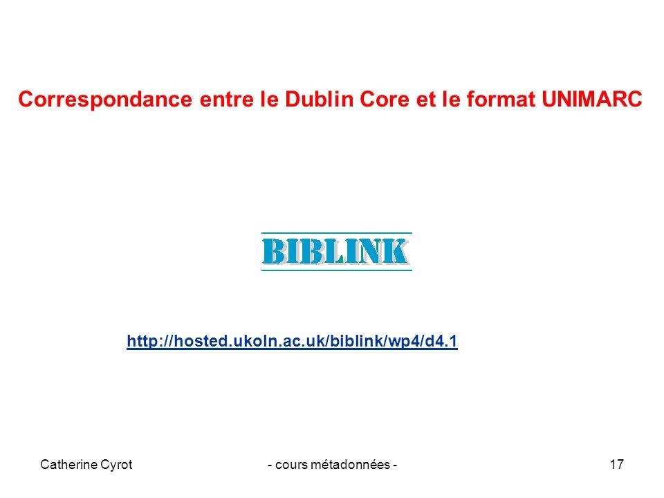 Catherine Cyrot- cours métadonnées -17 Correspondance entre le Dublin Core et le format UNIMARC http://hosted.ukoln.ac.uk/biblink/wp4/d4.1