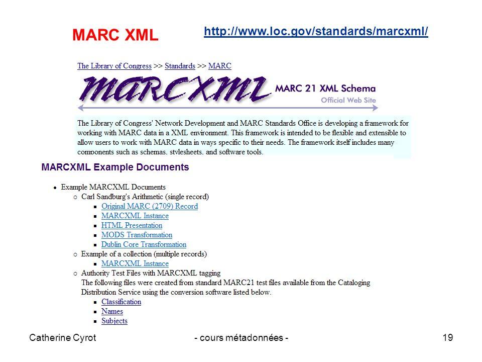 Catherine Cyrot- cours métadonnées -19 MARC XML http://www.loc.gov/standards/marcxml/