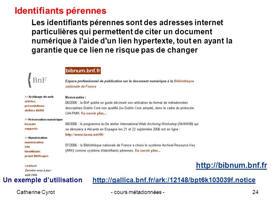 Catherine Cyrot- cours métadonnées -24 Les identifiants pérennes sont des adresses internet particulières qui permettent de citer un document numériqu