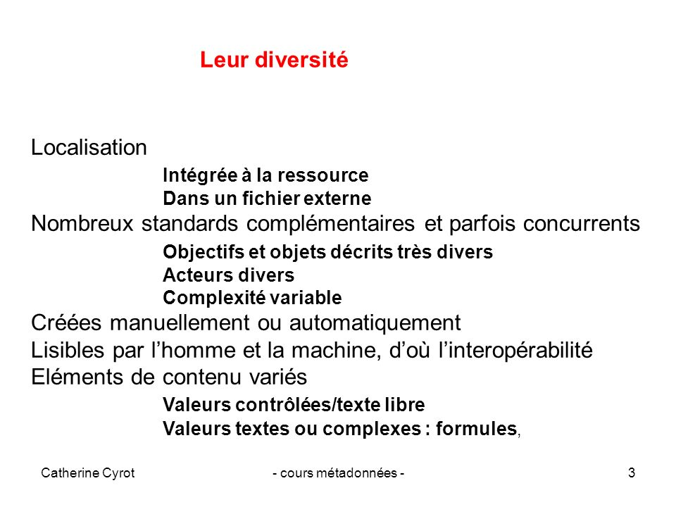 Catherine Cyrot- cours métadonnées -3 Localisation Intégrée à la ressource Dans un fichier externe Nombreux standards complémentaires et parfois concu