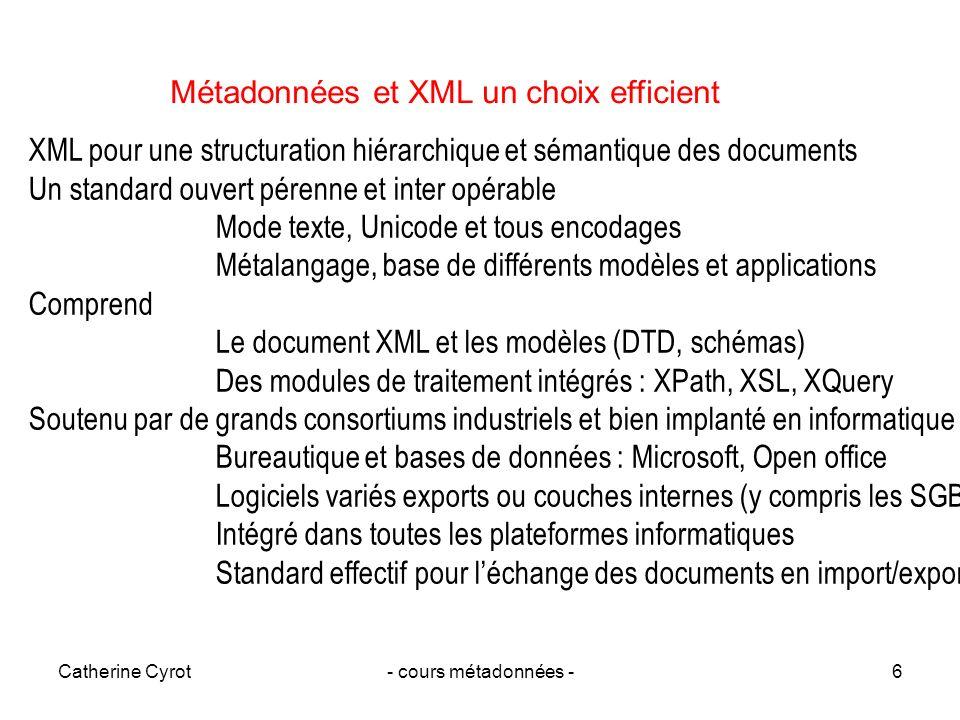 Catherine Cyrot- cours métadonnées -6 XML pour une structuration hiérarchique et sémantique des documents Un standard ouvert pérenne et inter opérable