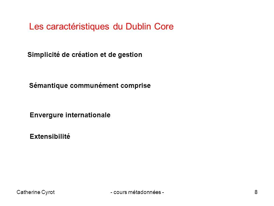 Catherine Cyrot- cours métadonnées -9 Le Dublin Core aujourdhui DC simple : 15 éléments caractérisés par 10 propriétés, norme 15836_2006 DC qualifié : ajout de qualificatifs (DCTERMS, refinemens, qualifiers, extensions) DC étendu : avec des éléments issus dautres standards (Learning Object Metadata IEEEE-LOM) + des éléments récents : gestion des collections Des schémas dencodage Syntaxiques formats dimplémentation (html, xml, rdf) Sémantiques : vocabulaires contrôlés, classifications, recommandés pour les valeurs