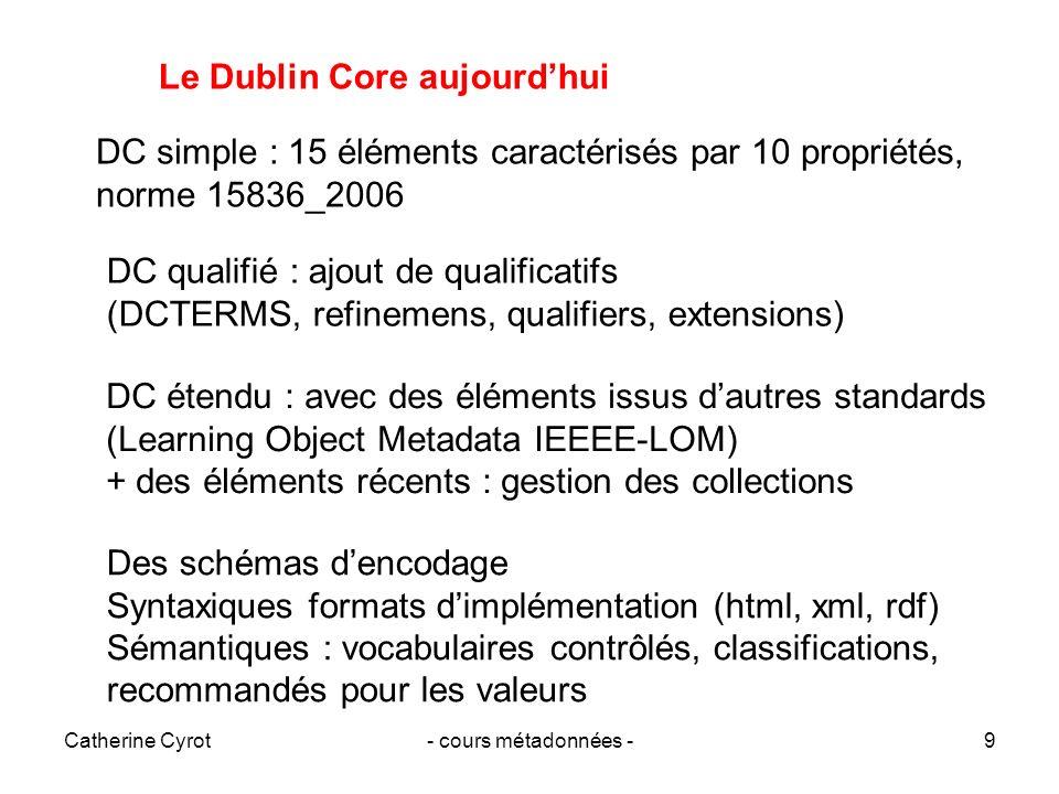 Catherine Cyrot- cours métadonnées -9 Le Dublin Core aujourdhui DC simple : 15 éléments caractérisés par 10 propriétés, norme 15836_2006 DC qualifié :