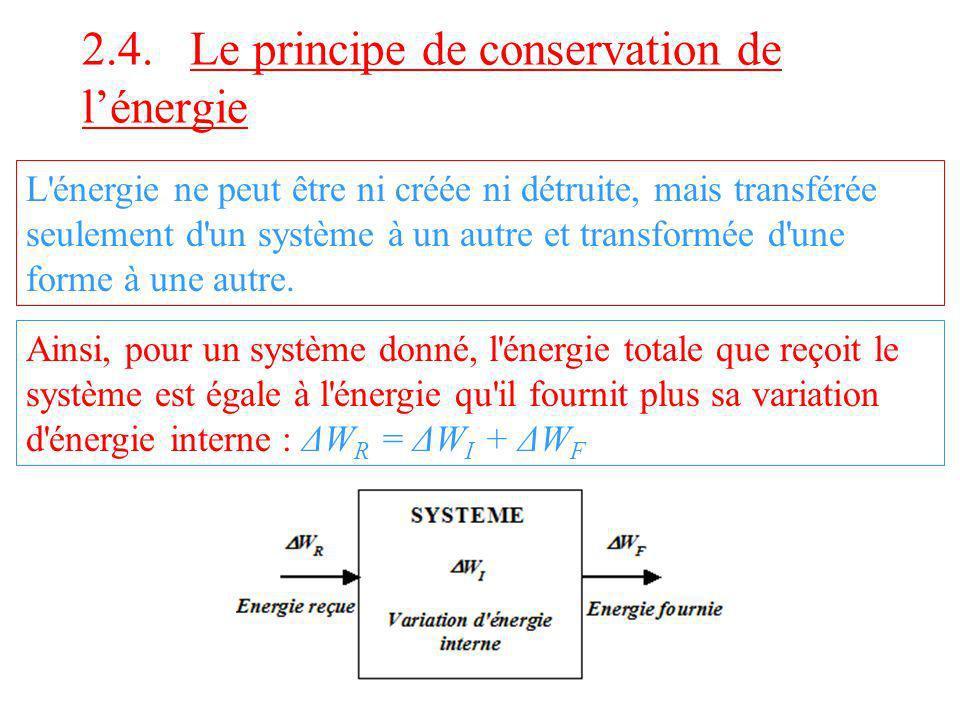L'énergie ne peut être ni créée ni détruite, mais transférée seulement d'un système à un autre et transformée d'une forme à une autre. Ainsi, pour un