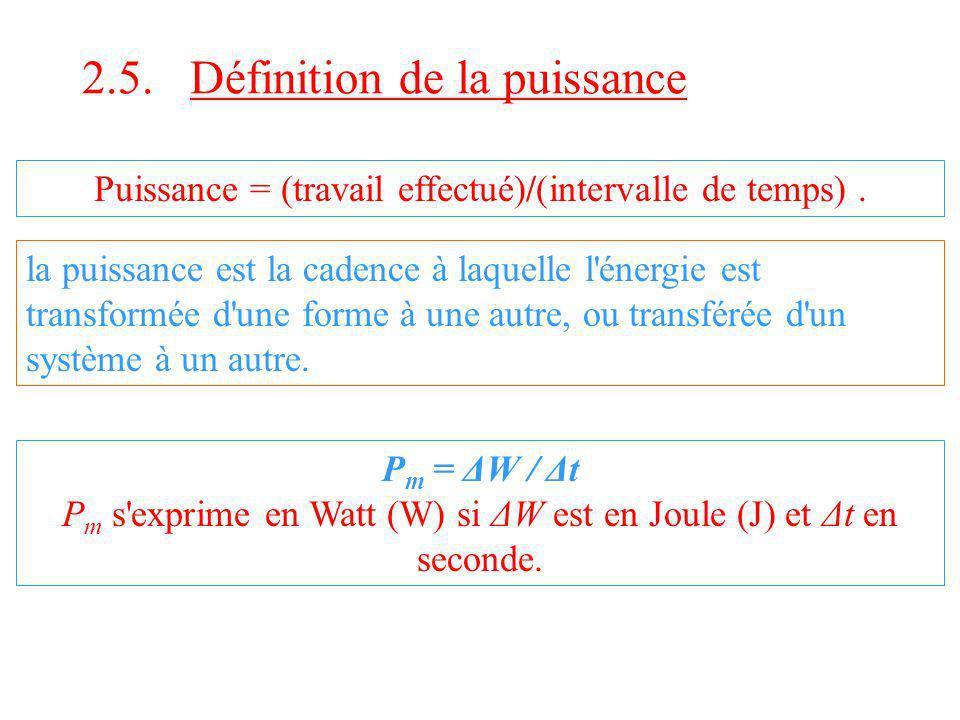 2.5. Définition de la puissance Puissance = (travail effectué)/(intervalle de temps). la puissance est la cadence à laquelle l'énergie est transformée
