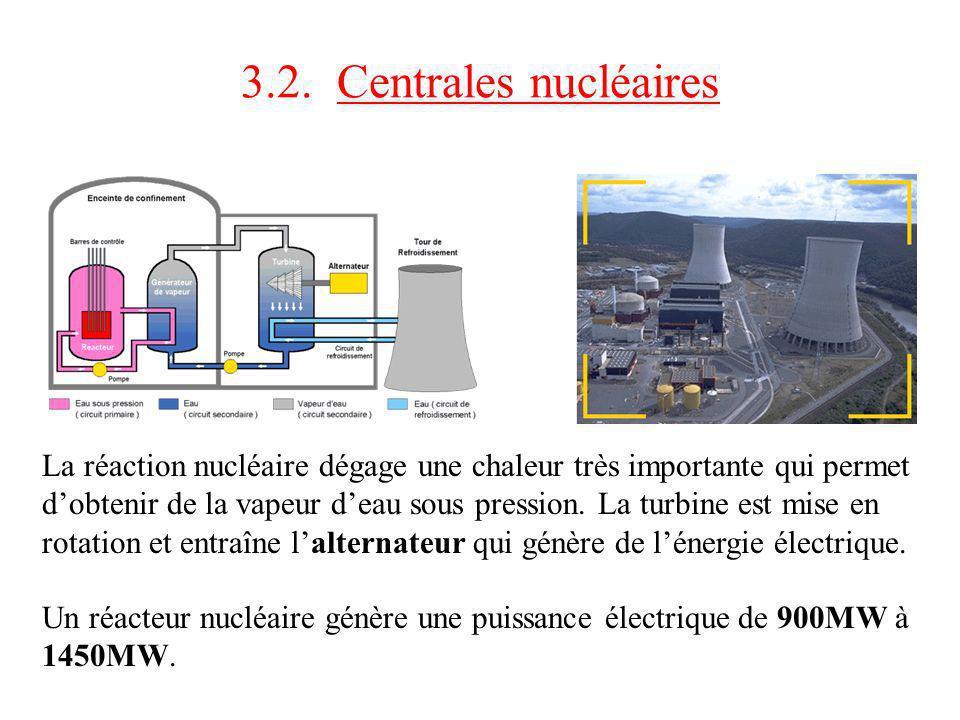 3.2. Centrales nucléaires La réaction nucléaire dégage une chaleur très importante qui permet dobtenir de la vapeur deau sous pression. La turbine est