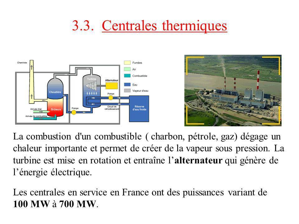 3.3. Centrales thermiques La combustion d'un combustible ( charbon, pétrole, gaz) dégage un chaleur importante et permet de créer de la vapeur sous pr