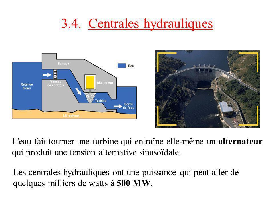 3.4. Centrales hydrauliques L'eau fait tourner une turbine qui entraîne elle-même un alternateur qui produit une tension alternative sinusoïdale. Les