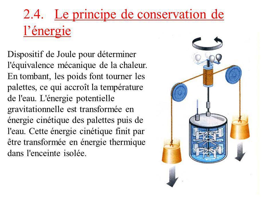 2.4. Le principe de conservation de lénergie Dispositif de Joule pour déterminer l'équivalence mécanique de la chaleur. En tombant, les poids font tou