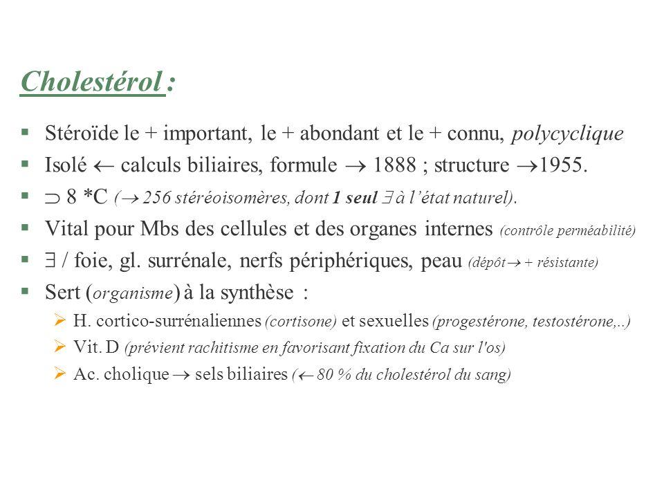 Cholestérol : §Stéroïde le + important, le + abondant et le + connu, polycyclique §Isolé calculs biliaires, formule 1888 ; structure 1955. § 8 *C ( 25