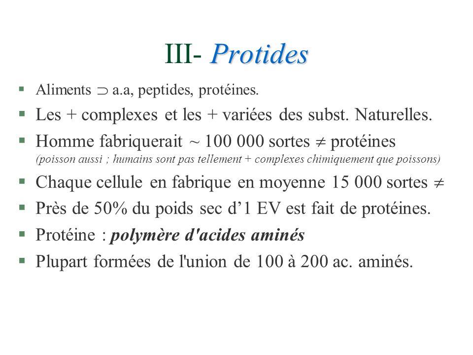 Protides III- Protides §Aliments a.a, peptides, protéines. §Les + complexes et les + variées des subst. Naturelles. §Homme fabriquerait ~ 100 000 sort