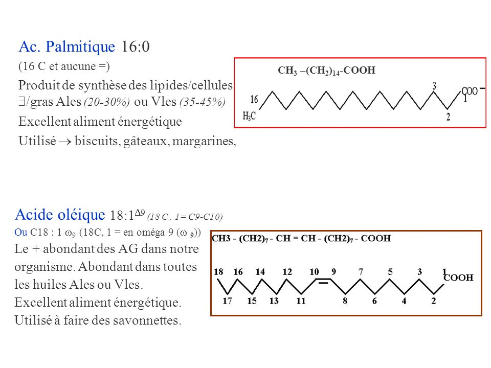 Acide oléique 18:1 9 (18 C, 1= C9-C10) Ou C18 : 1 9 (18C, 1 = en oméga 9 ( 9 )) Le + abondant des AG dans notre organisme. Abondant dans toutes les hu