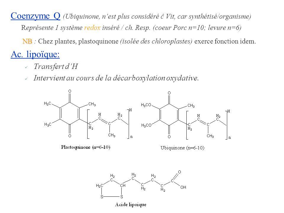 Coenzyme Q (Ubiquinone, nest plus considéré ĉ Vit, car synthétisé/organisme) Représente 1 système redox inséré / ch. Resp. (coeur Porc n=10; levure n=