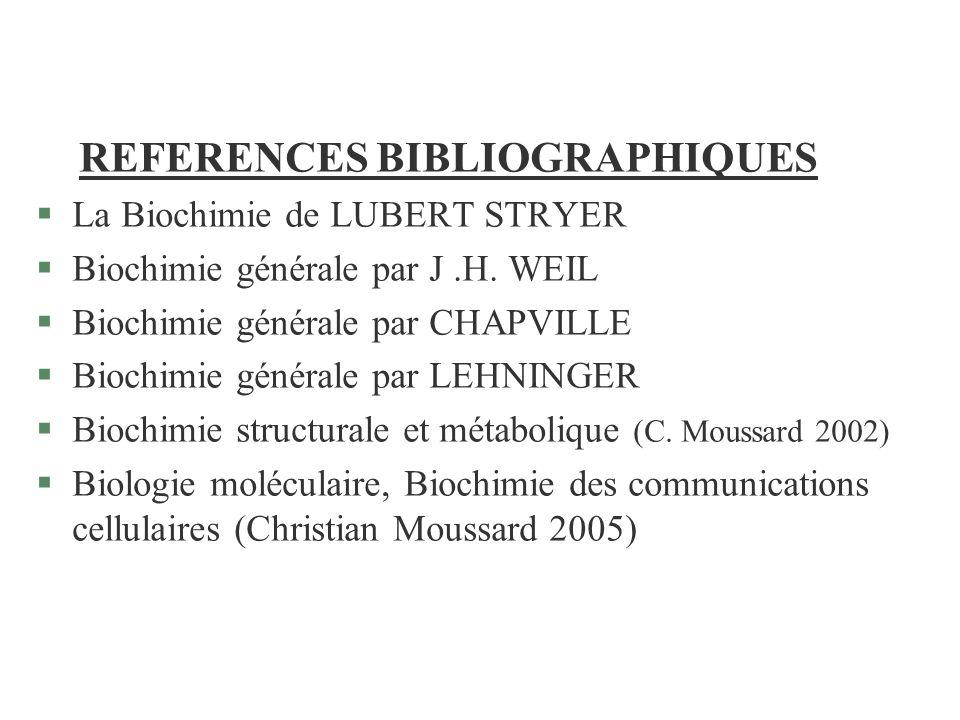 REFERENCES BIBLIOGRAPHIQUES §La Biochimie de LUBERT STRYER §Biochimie générale par J.H. WEIL §Biochimie générale par CHAPVILLE §Biochimie générale par