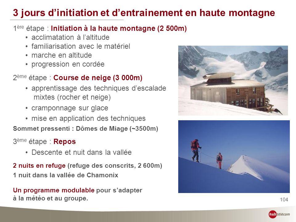 104 3 jours dinitiation et dentrainement en haute montagne 1 ère étape : Initiation à la haute montagne (2 500m) acclimatation à laltitude familiarisa