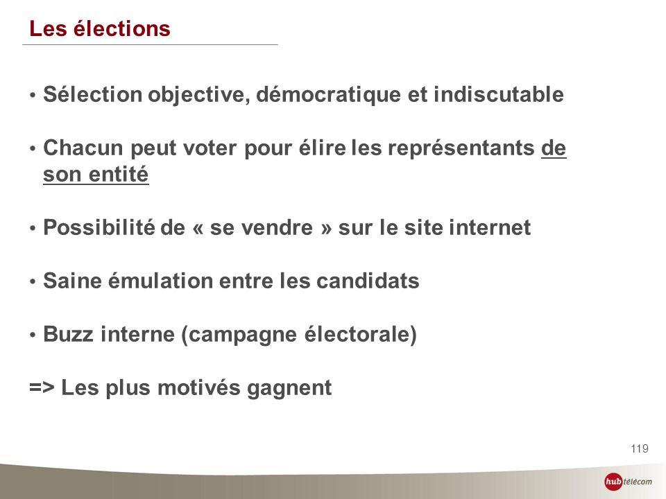 119 Les élections Sélection objective, démocratique et indiscutable Chacun peut voter pour élire les représentants de son entité Possibilité de « se v