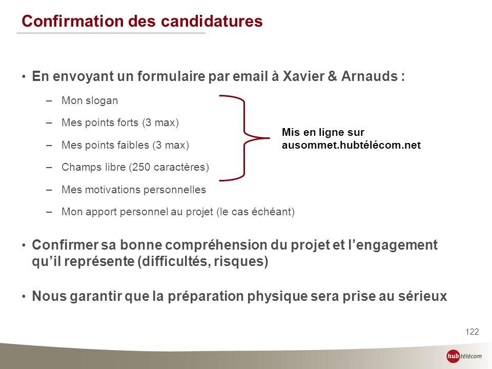 122 Confirmation des candidatures En envoyant un formulaire par email à Xavier & Arnauds : –Mon slogan –Mes points forts (3 max) –Mes points faibles (
