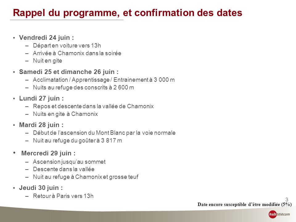 3 Rappel du programme, et confirmation des dates Vendredi 24 juin : –Départ en voiture vers 13h –Arrivée à Chamonix dans la soirée –Nuit en gite Samed