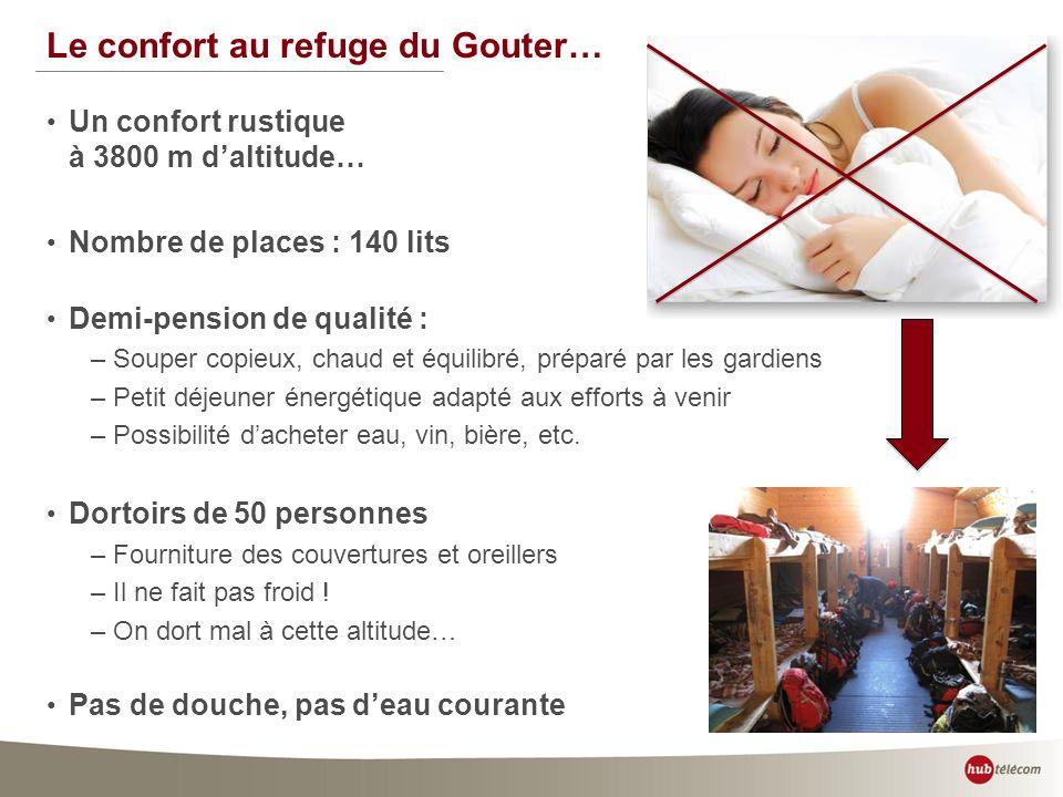 38 Le confort au refuge du Gouter… Un confort rustique à 3800 m daltitude… Nombre de places : 140 lits Demi-pension de qualité : –Souper copieux, chau