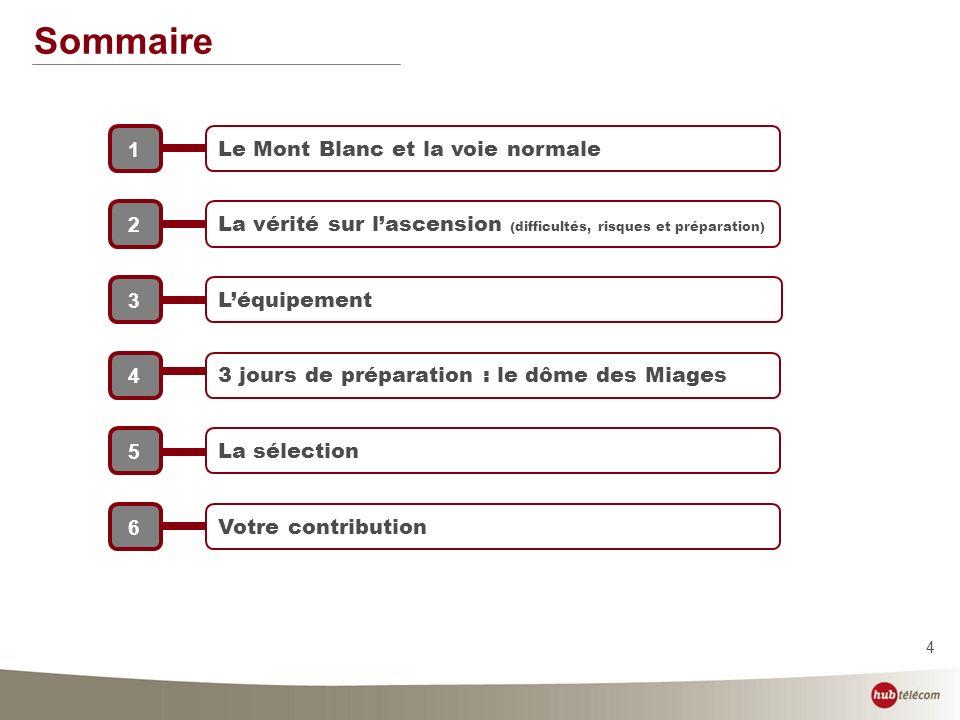4 Sommaire Le Mont Blanc et la voie normale 1 La vérité sur lascension (difficultés, risques et préparation) 2 Léquipement 3 3 jours de préparation :