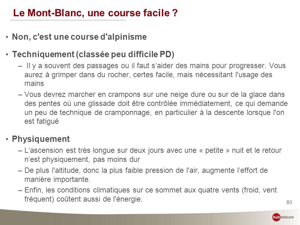 80 Le Mont-Blanc, une course facile ? Non, c'est une course d'alpinisme Techniquement (classée peu difficile PD) – Il y a souvent des passages ou il f