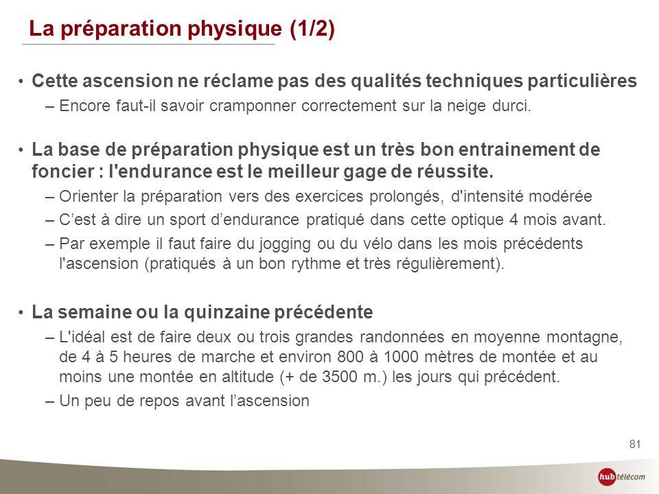 81 La préparation physique (1/2) Cette ascension ne réclame pas des qualités techniques particulières –Encore faut-il savoir cramponner correctement s