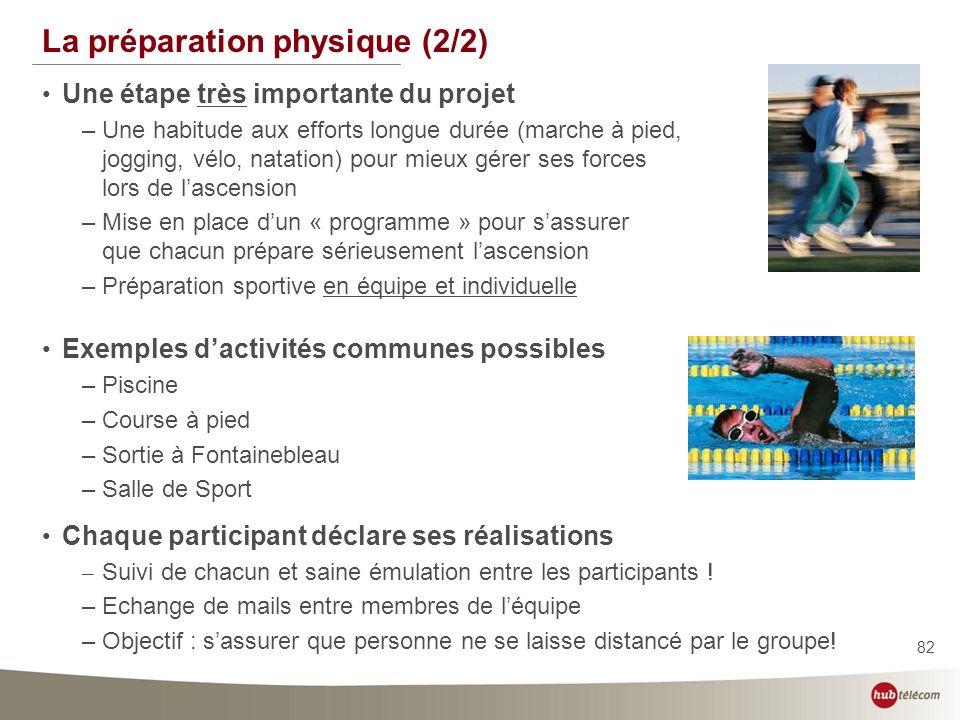 82 La préparation physique (2/2) Une étape très importante du projet –Une habitude aux efforts longue durée (marche à pied, jogging, vélo, natation) p