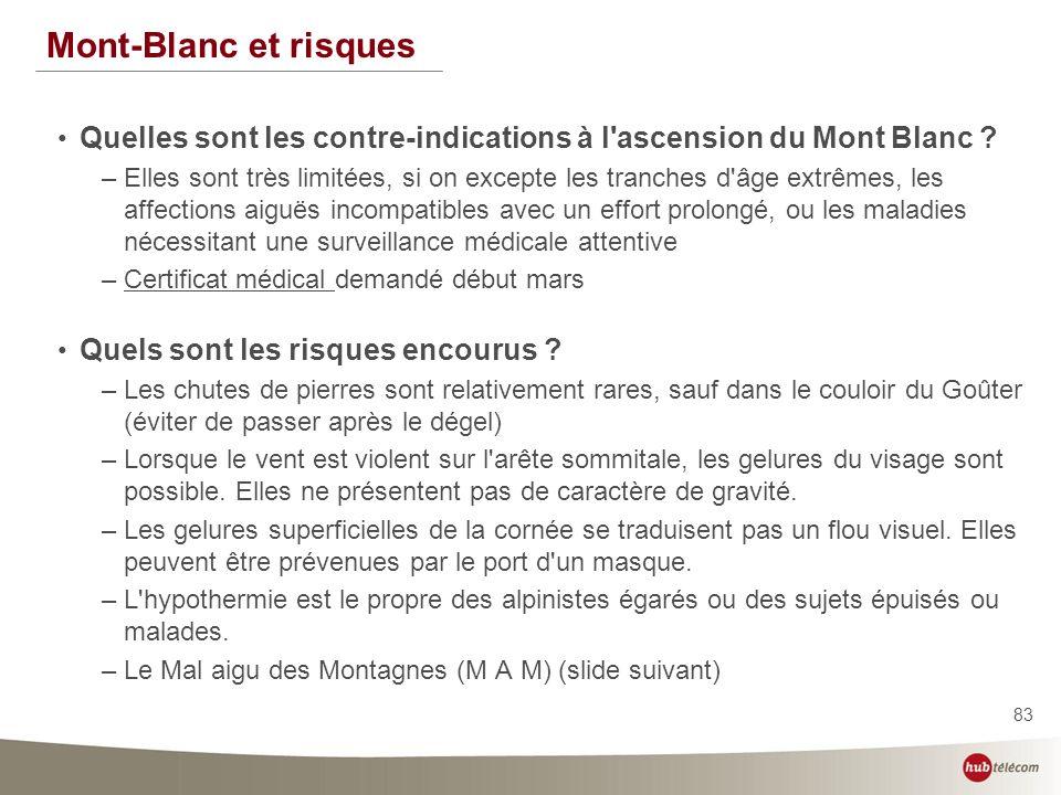83 Mont-Blanc et risques Quelles sont les contre-indications à l'ascension du Mont Blanc ? –Elles sont très limitées, si on excepte les tranches d'âge