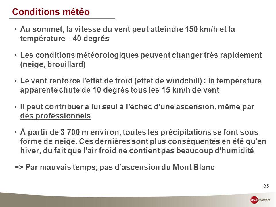 85 Conditions météo Au sommet, la vitesse du vent peut atteindre 150 km/h et la température – 40 degrés Les conditions météorologiques peuvent changer