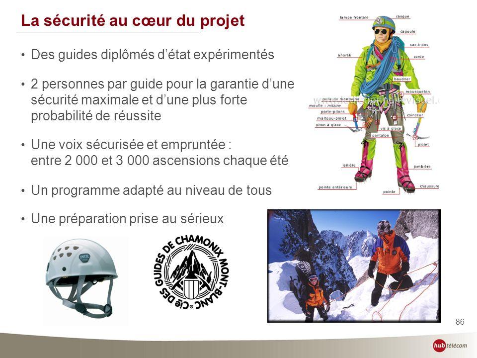 86 La sécurité au cœur du projet Des guides diplômés détat expérimentés 2 personnes par guide pour la garantie dune sécurité maximale et dune plus for