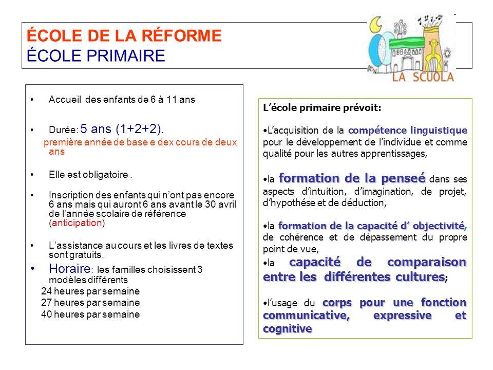 ÉCOLE DE LA RÉFORME ÉCOLE PRIMAIRE Accueil des enfants de 6 à 11 ans Durée: 5 ans (1+2+2). première année de base e dex cours de deux ans Elle est obl