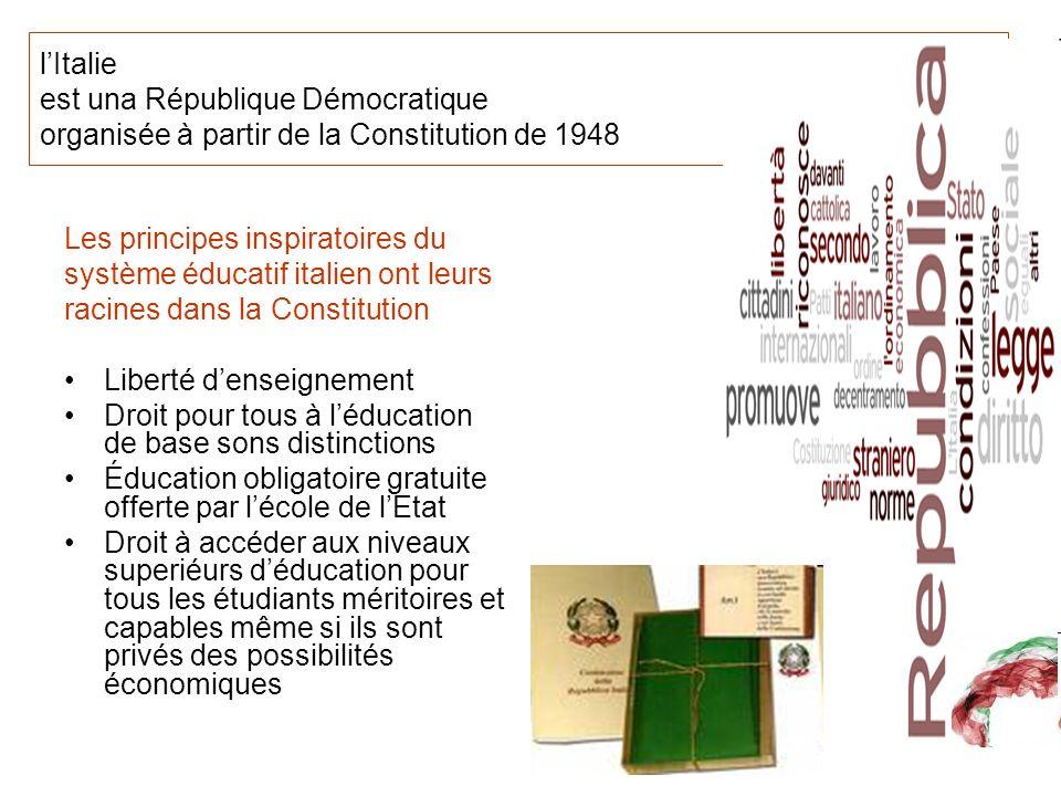 lItalie est una République Démocratique organisée à partir de la Constitution de 1948 Les principes inspiratoires du système éducatif italien ont leur