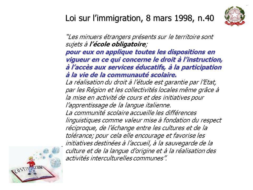 Loi sur limmigration, 8 mars 1998, n.40 Les minuers étrangers présents sur le territoire sont sujets à lécole obligatoire; pour eux on applique toutes