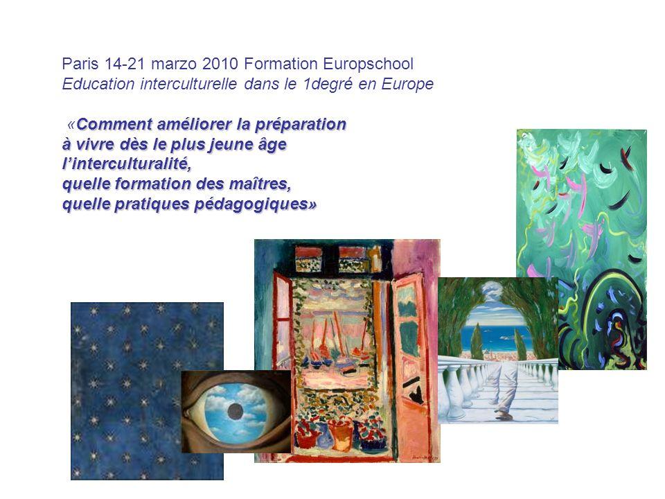 Paris 14-21 marzo 2010 Formation Europschool Education interculturelle dans le 1degré en Europe Comment améliorer la préparation «Comment améliorer la