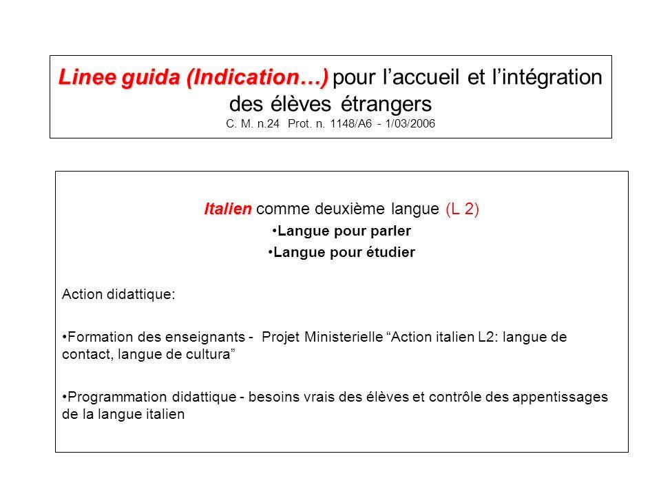 Linee guida (Indication…) Linee guida (Indication…) pour laccueil et lintégration des élèves étrangers C. M. n.24 Prot. n. 1148/A6 - 1/03/2006 Italien