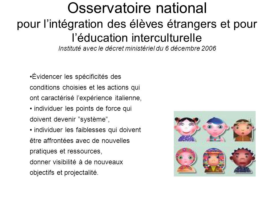 Osservatoire national pour lintégration des élèves étrangers et pour léducation interculturelle Instituté avec le décret ministériel du 6 décembre 200