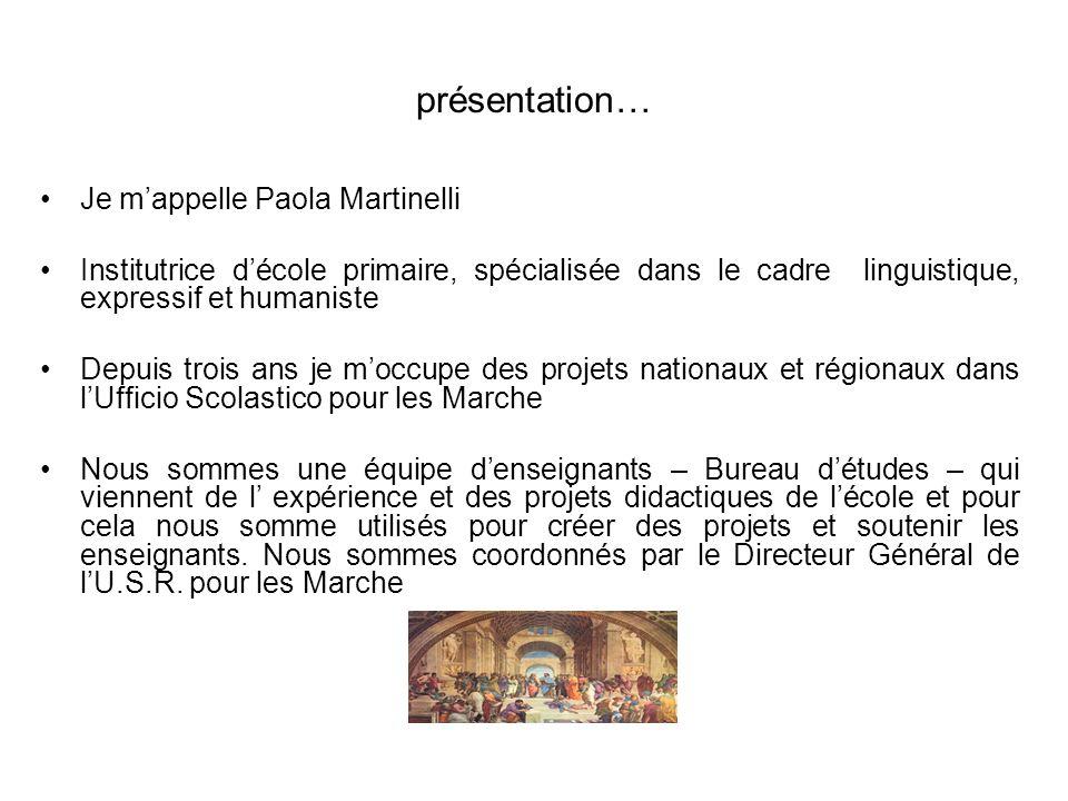 présentation… Je mappelle Paola Martinelli Institutrice décole primaire, spécialisée dans le cadre linguistique, expressif et humaniste Depuis trois a
