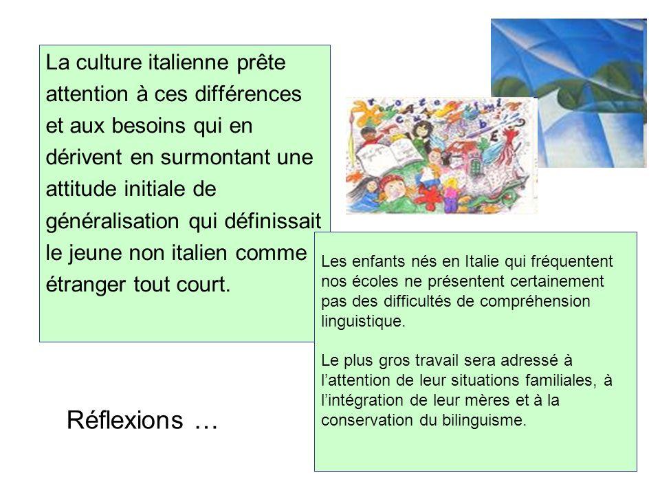 Réflexions … La culture italienne prête attention à ces différences et aux besoins qui en dérivent en surmontant une attitude initiale de généralisati