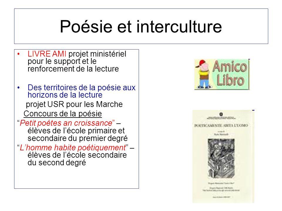 Poésie et interculture LIVRE AMI projet ministériel pour le support et le renforcement de la lecture Des territoires de la poésie aux horizons de la l