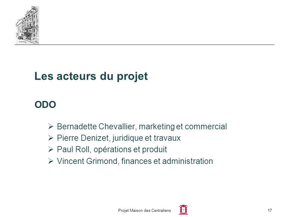 Projet Maison des Centraliens17 Les acteurs du projet ODO Bernadette Chevallier, marketing et commercial Pierre Denizet, juridique et travaux Paul Rol