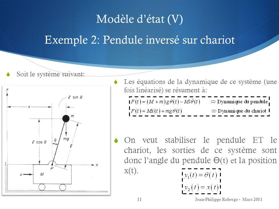 Modèle détat (V) Exemple 2: Pendule inversé sur chariot Jean-Philippe Roberge - Mars 201111 Soit le système suivant: Les équations de la dynamique de
