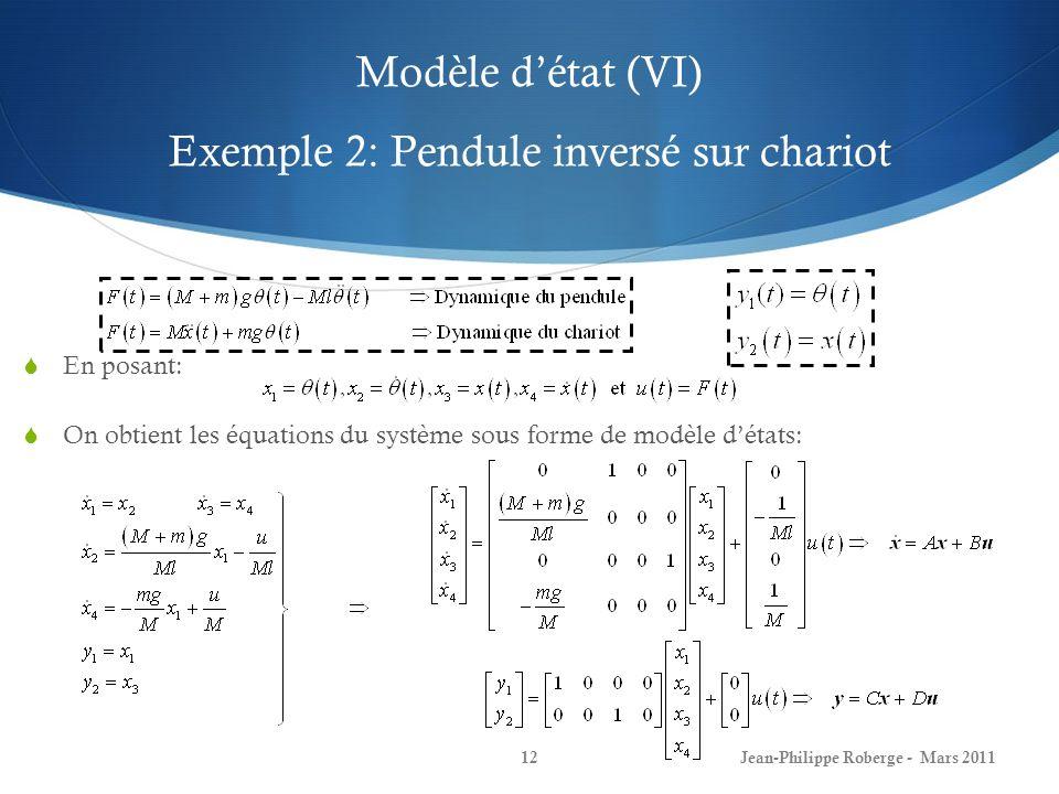 Modèle détat (VI) Exemple 2: Pendule inversé sur chariot Jean-Philippe Roberge - Mars 201112 En posant: On obtient les équations du système sous forme