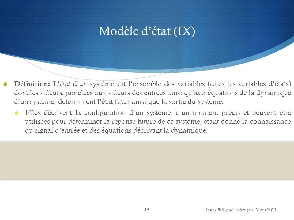 Modèle détat (IX) Définition: L état dun système est lensemble des variables (dites les variables détats) dont les valeurs, jumelées aux valeurs des e