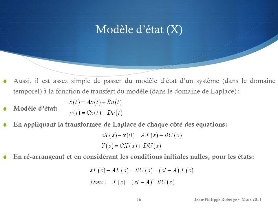 Modèle détat (X) Aussi, il est assez simple de passer du modèle détat dun système (dans le domaine temporel) à la fonction de transfert du modèle (dan