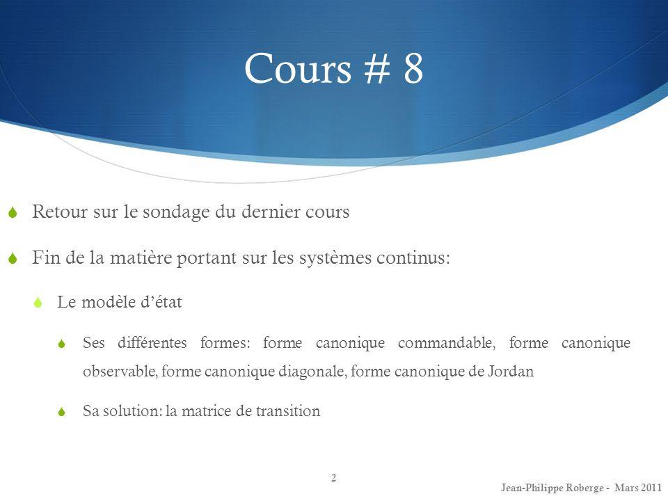 Cours # 8 Retour sur le sondage du dernier cours Fin de la matière portant sur les systèmes continus: Le modèle détat Ses différentes formes: forme ca