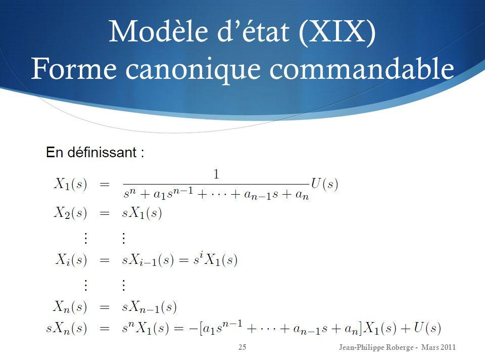 Modèle détat (XIX) Forme canonique commandable Jean-Philippe Roberge - Mars 201125