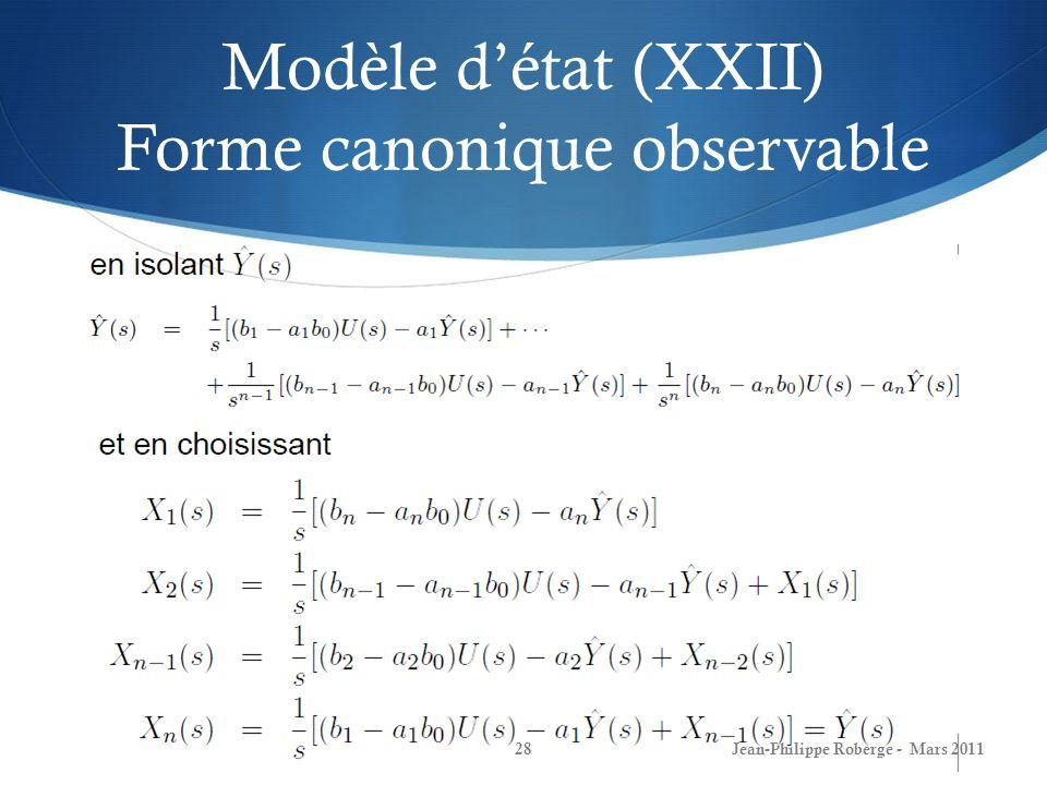 Modèle détat (XXII) Forme canonique observable Jean-Philippe Roberge - Mars 201128